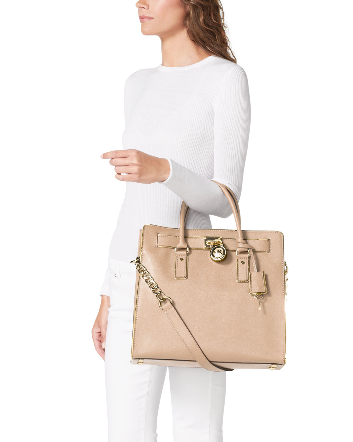 usa lyst michael kors michael large hamilton trimmed tote in natural 7566d  b56b8 7843682278817