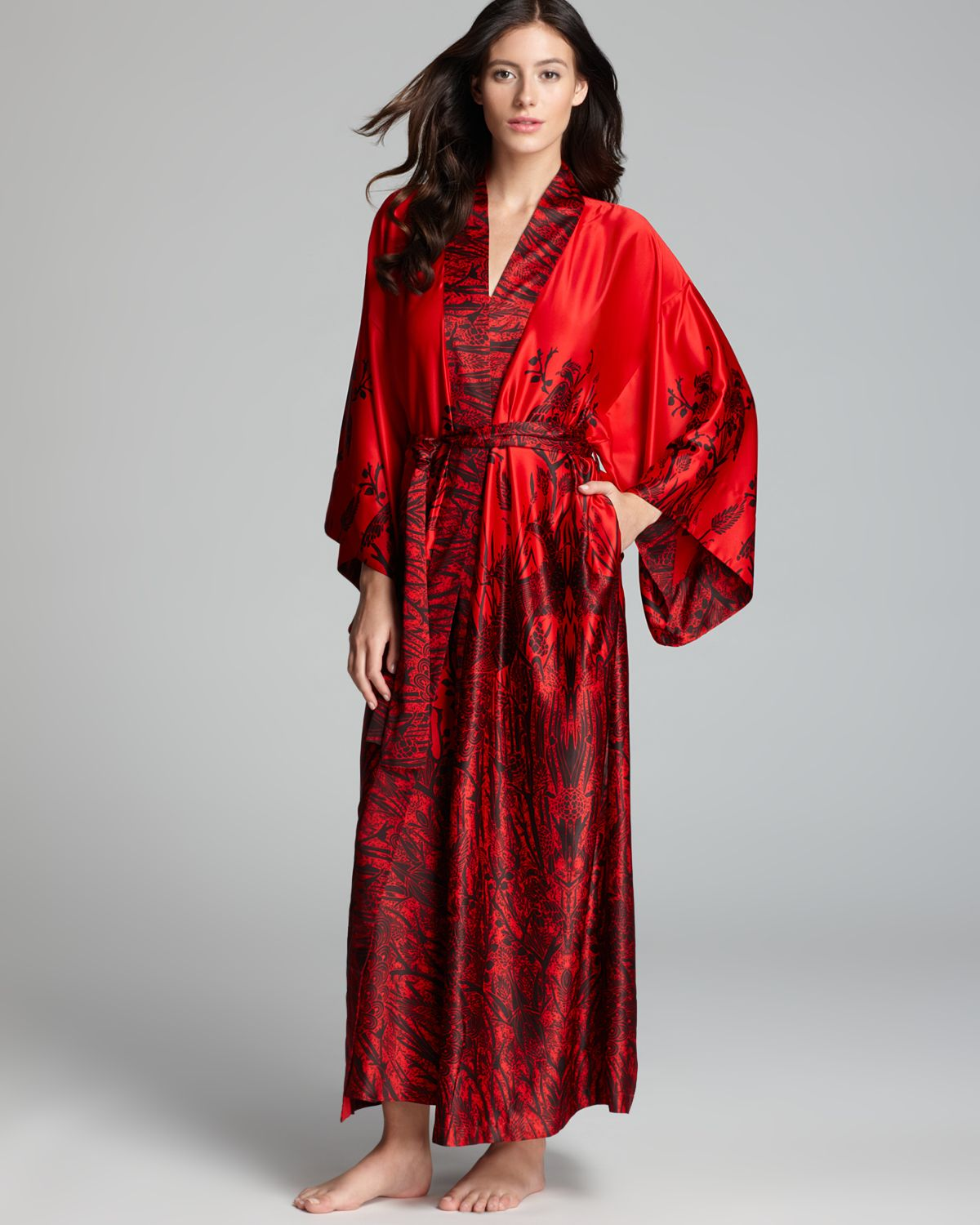 Natori Phoenix Robe in Red - Lyst
