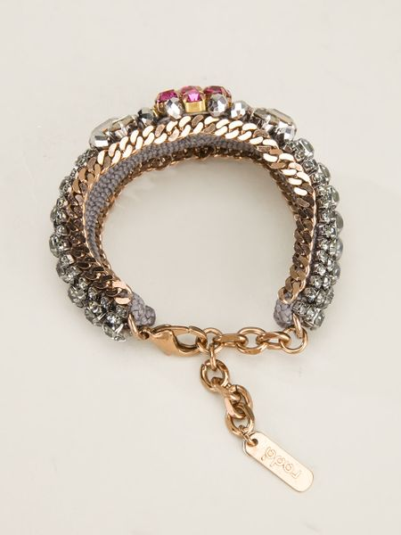 Rada Crystal Bracelet In Pink Metallic Lyst