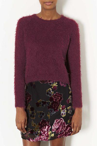 Knitting Pattern Fluffy Jumper : Topshop Knitted Fluffy Crop Jumper in Purple (Deep Berry) Lyst