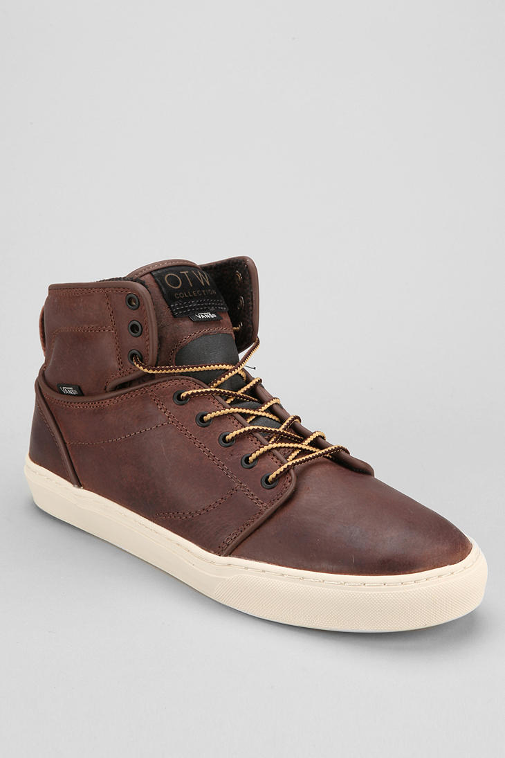 mens leather high top vans