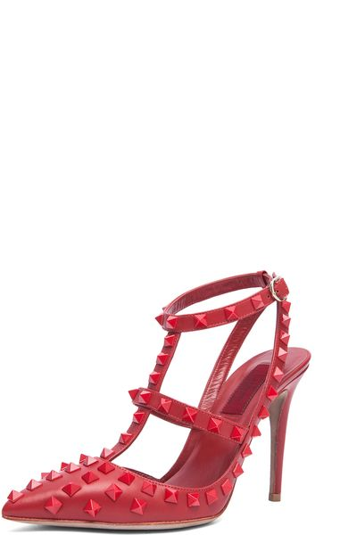 Valentino Rockstud Rouge Slingback T100 in Red