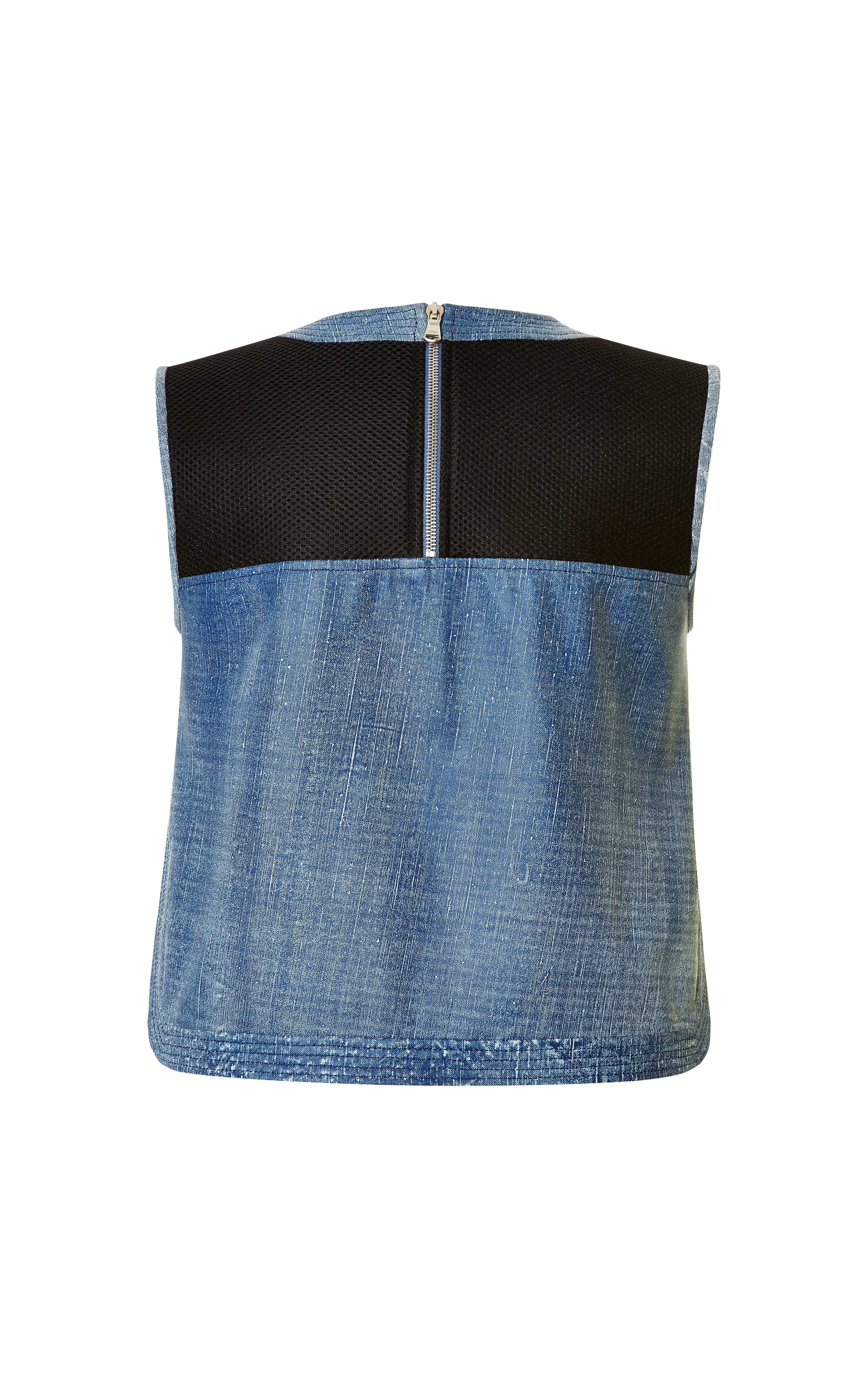 veronica beard denim leather crop top in blue lyst. Black Bedroom Furniture Sets. Home Design Ideas