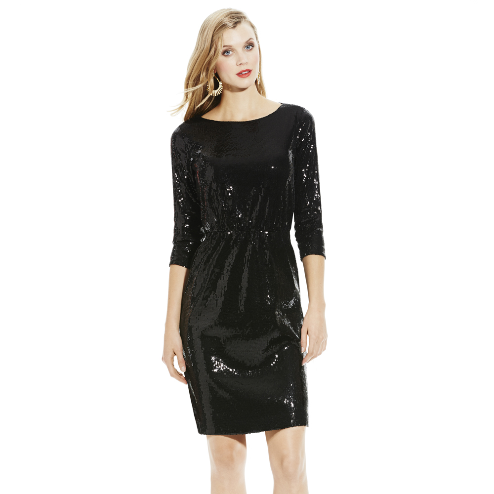 14a1d30d68f7 Lyst - Vince Camuto Sequin Dress with Lace in Black