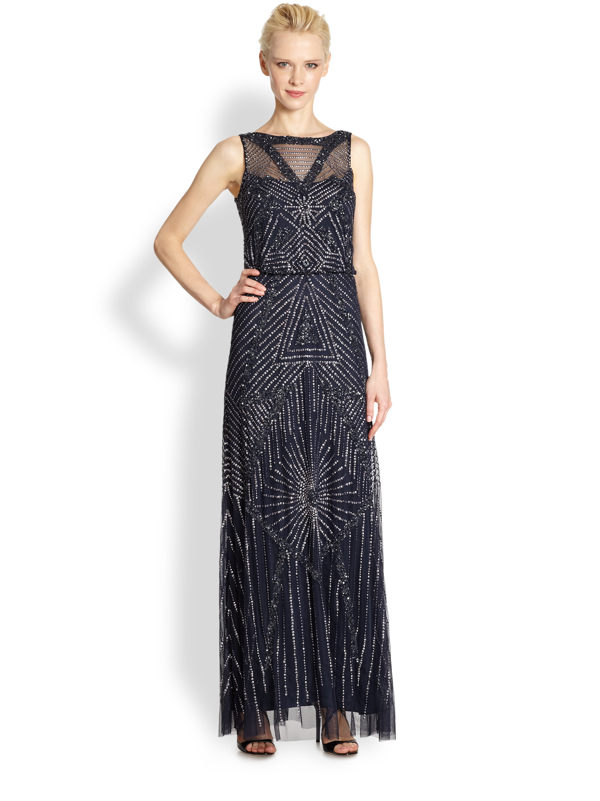 Comfortable Aidan Mattox Beaded Blouson Gown Gallery - Images for ...