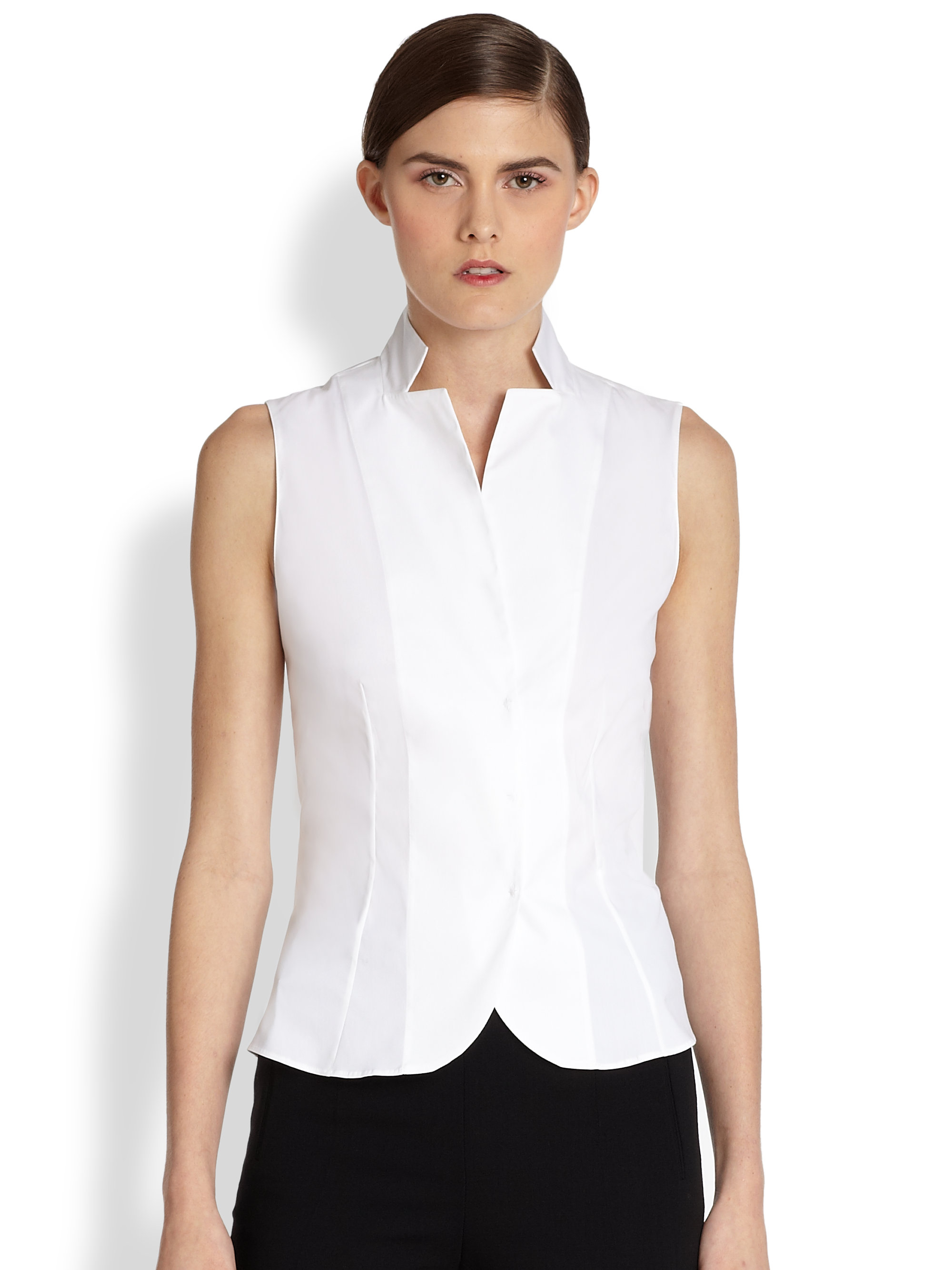 Stand Collar Blouse Designs Images : Akris architecture collection stand collar blouse in white