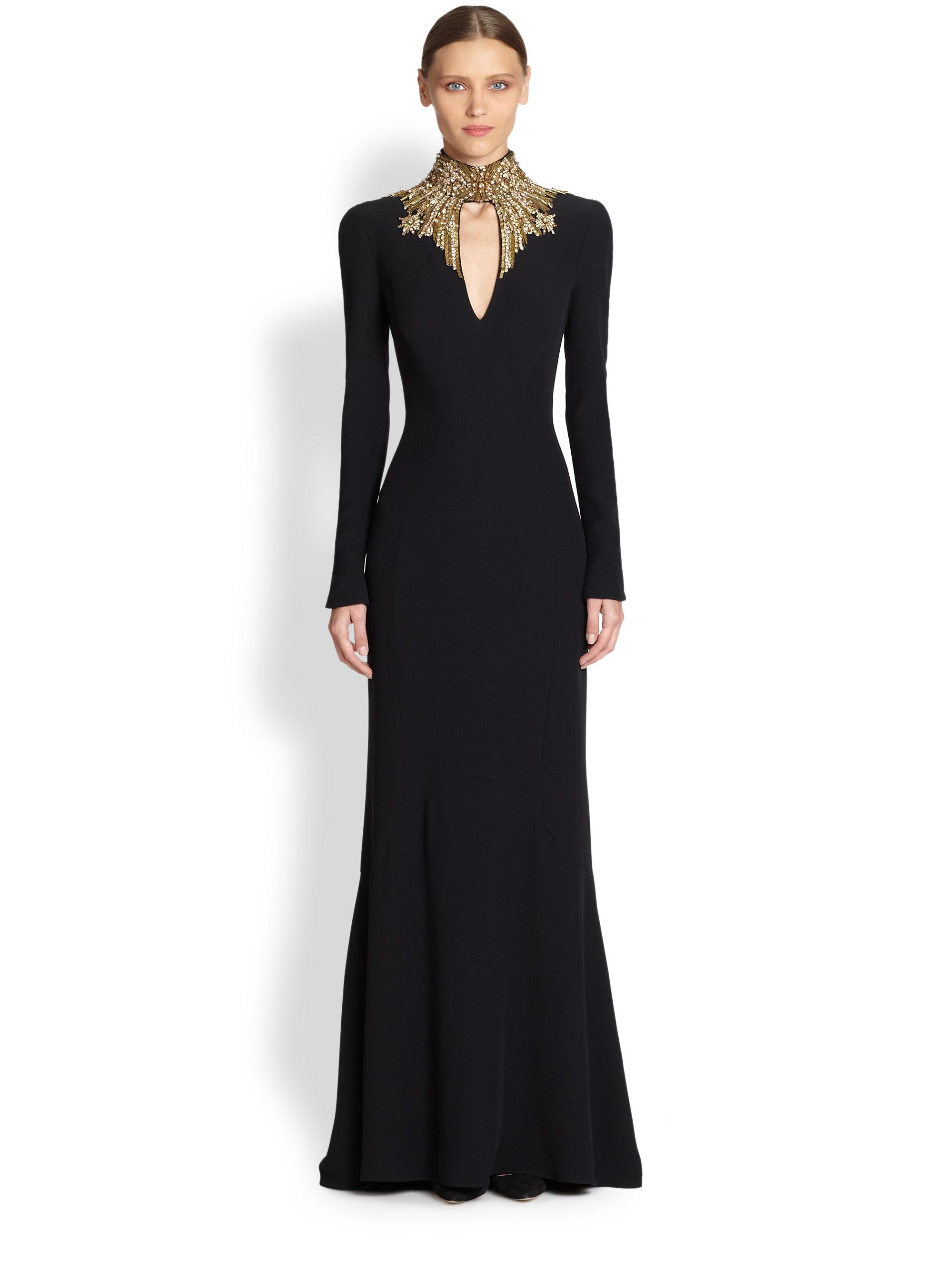 Lyst - Alexander Mcqueen Crepe Jewelneck Gown in Black