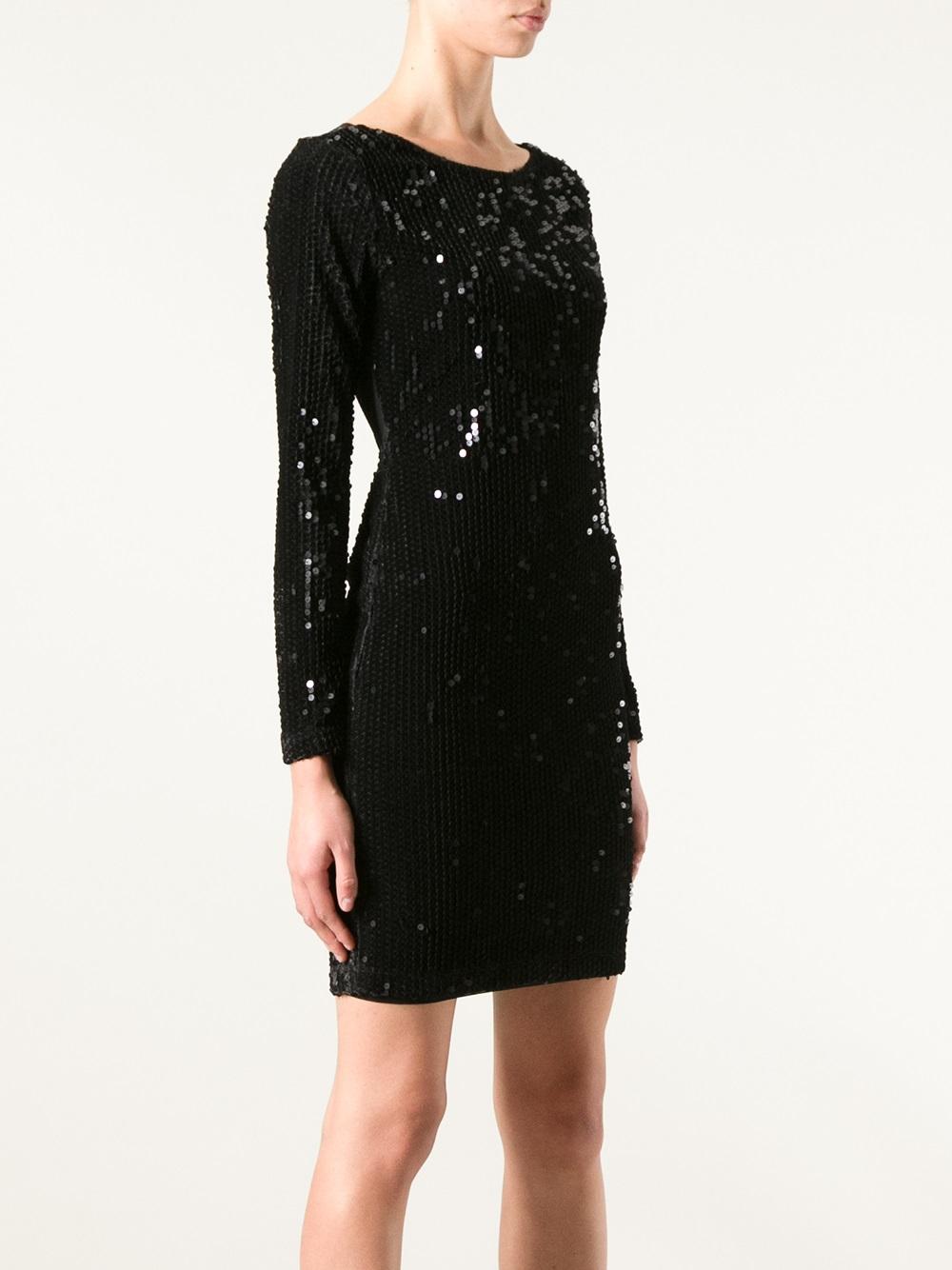 alice olivia sequin dress in black lyst