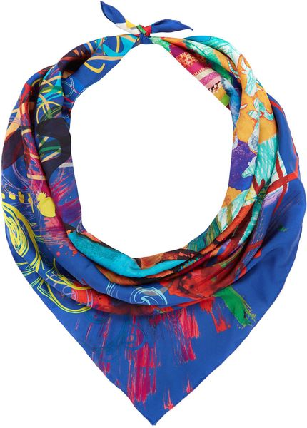 christian lacroix blue calligraphy print silk scarf in