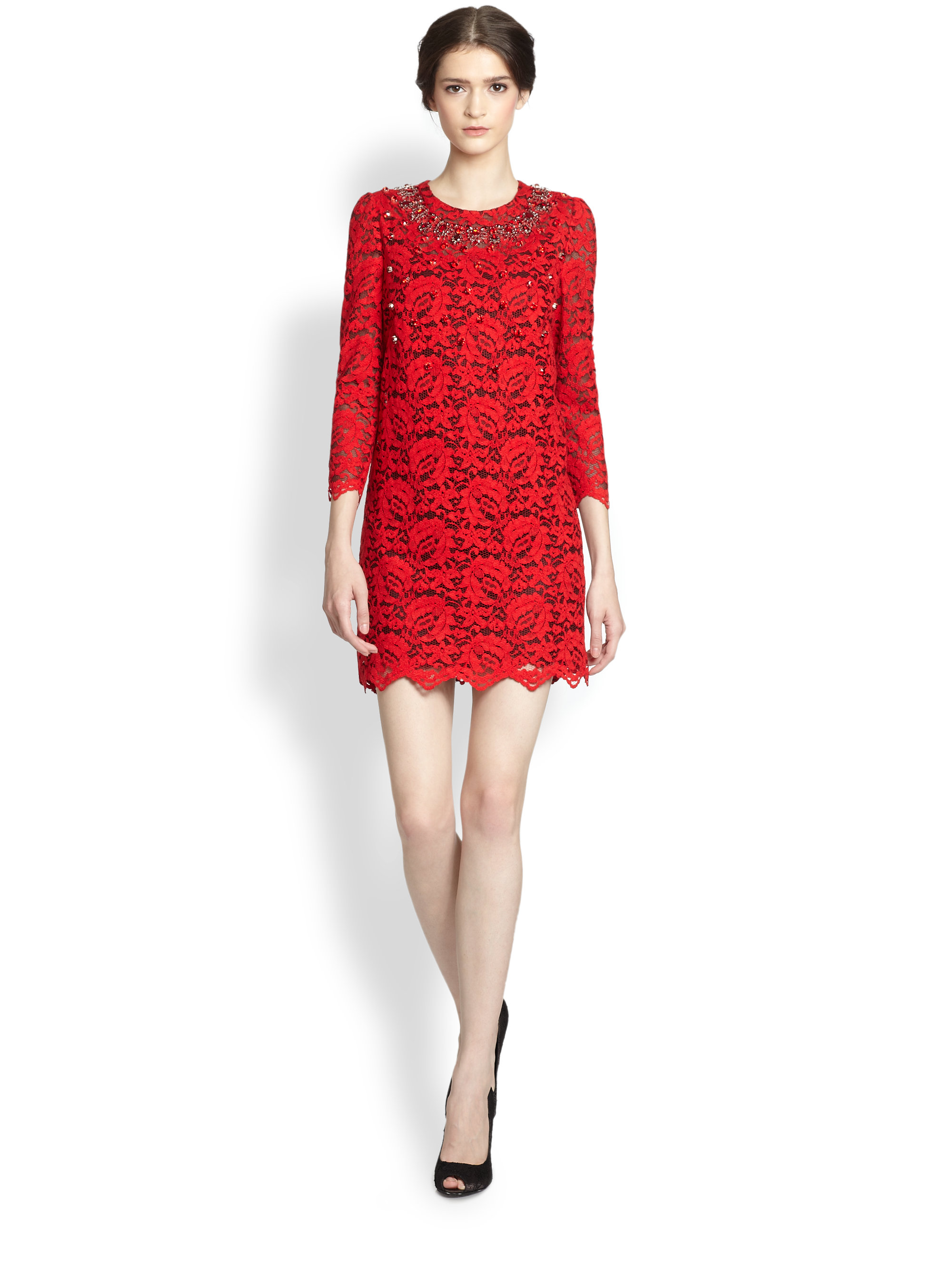 Dolce & gabbana Embellished Lace Dress in Red | Lyst