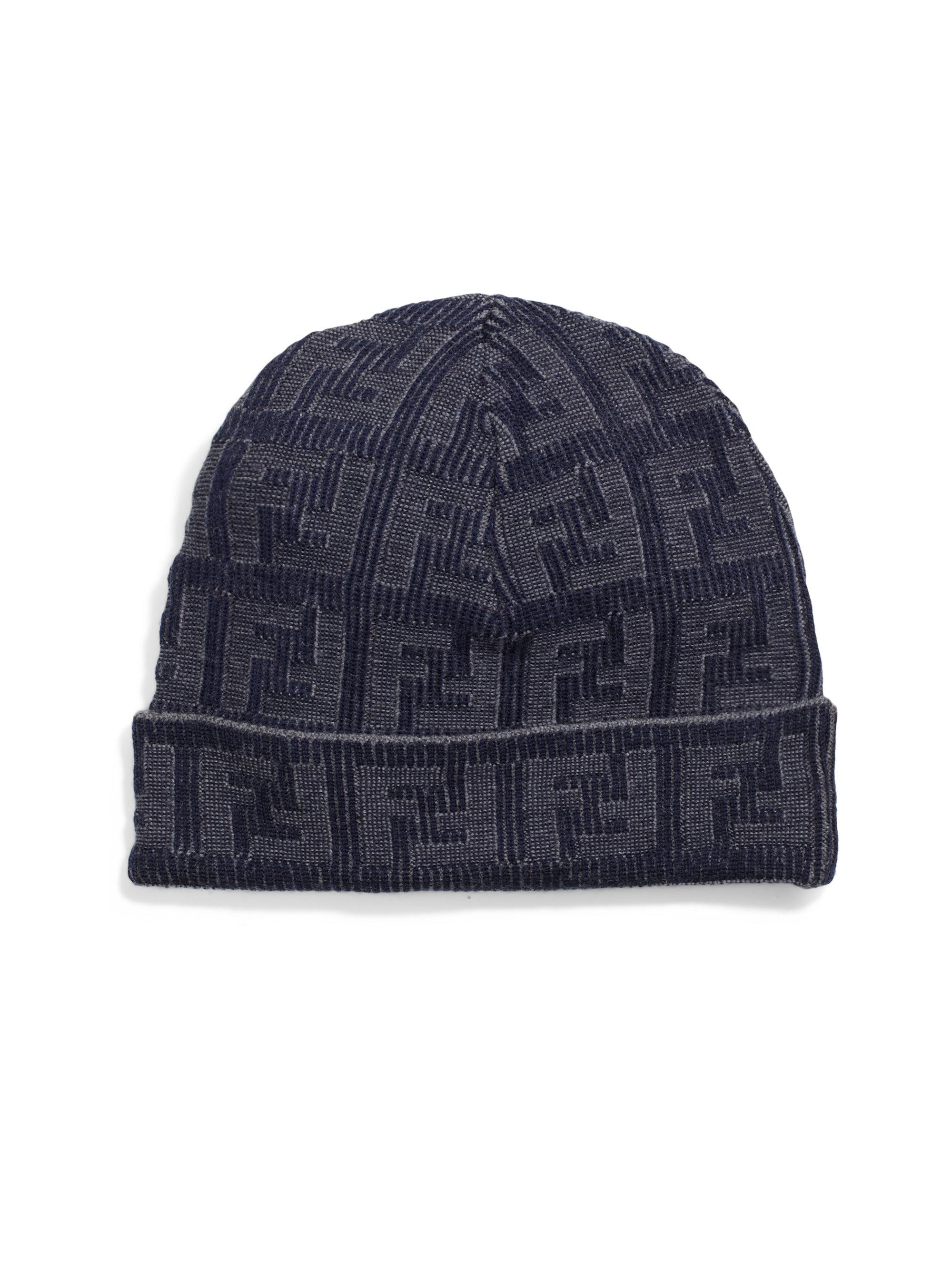 8d91b3fa127 Lyst - Fendi Logo Knit Wool Hat in Blue for Men