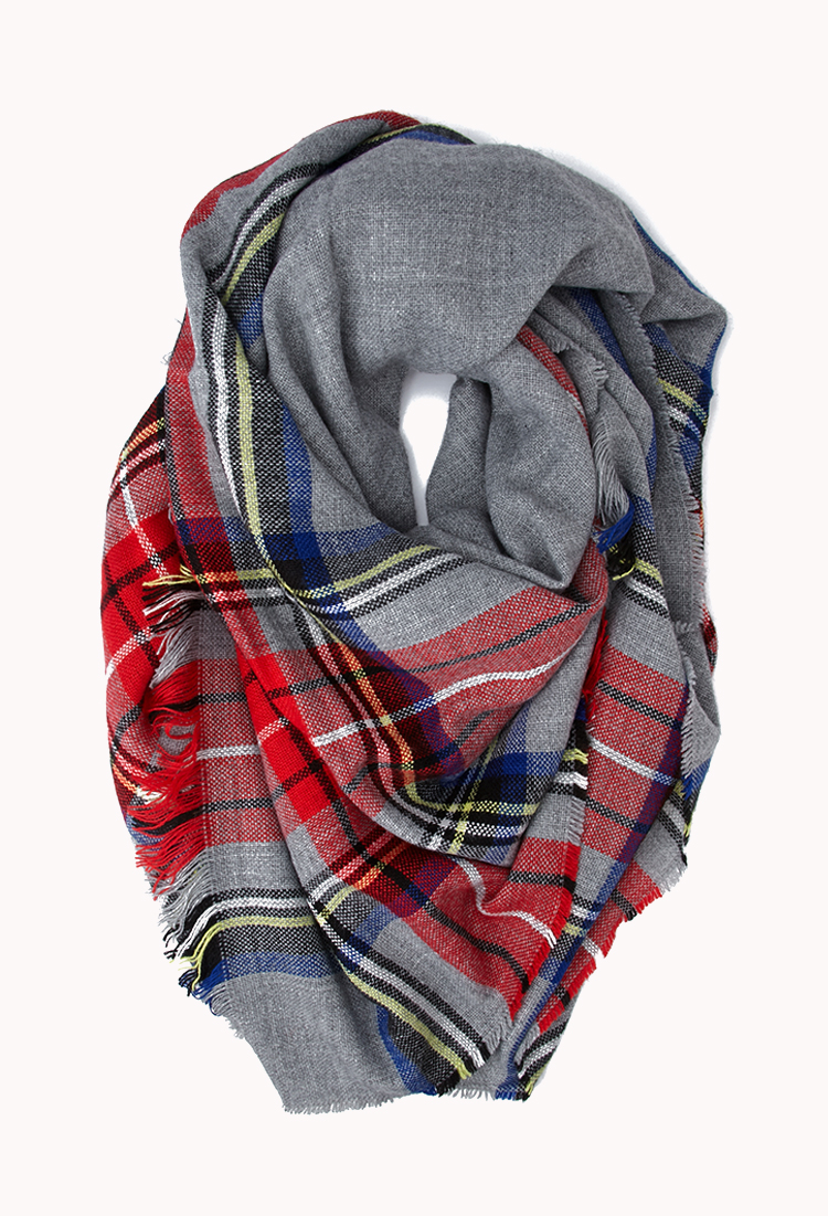 Forever 21 Classic Plaid Square Scarf In Gray Lyst