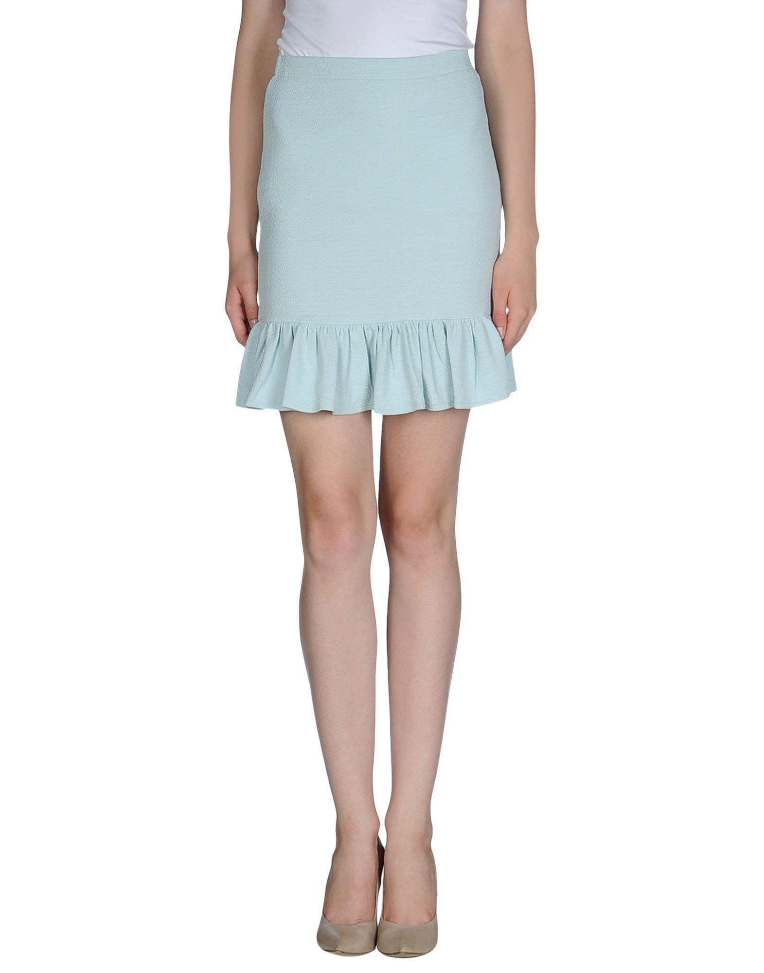 ganni mini skirt in blue sky blue lyst