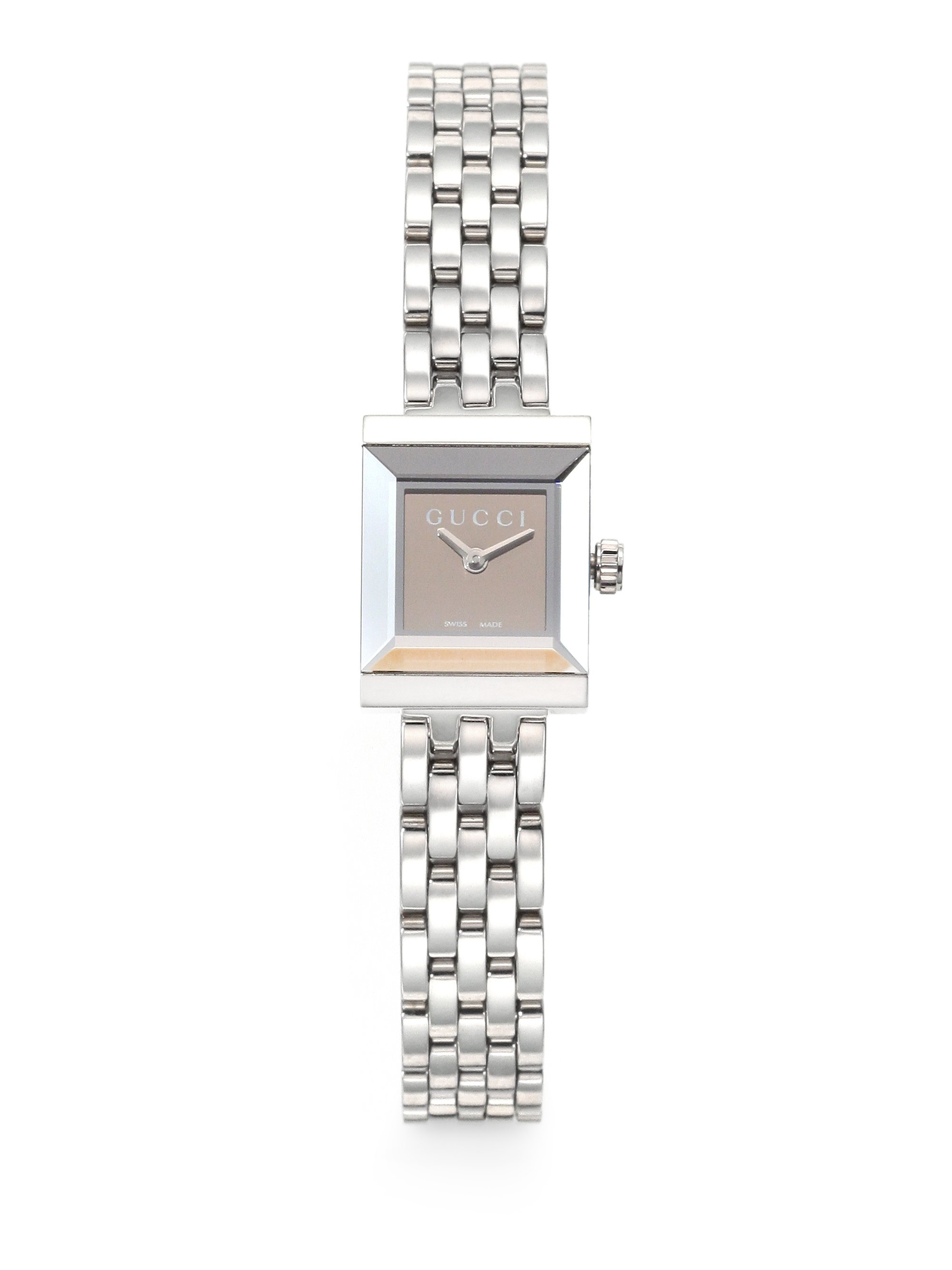 756c6af3a5b Lyst - Gucci G-frame Stainless Steel Square Watch in Metallic