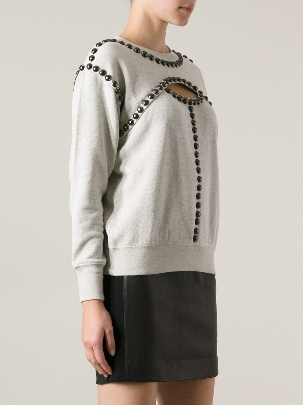 lyst isabel marant studded cut out jumper in gray. Black Bedroom Furniture Sets. Home Design Ideas