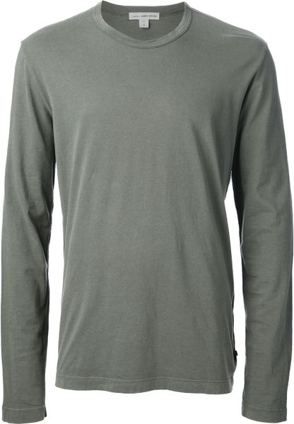 James perse long sleeve tshirt in green for men lyst for James perse t shirts sale