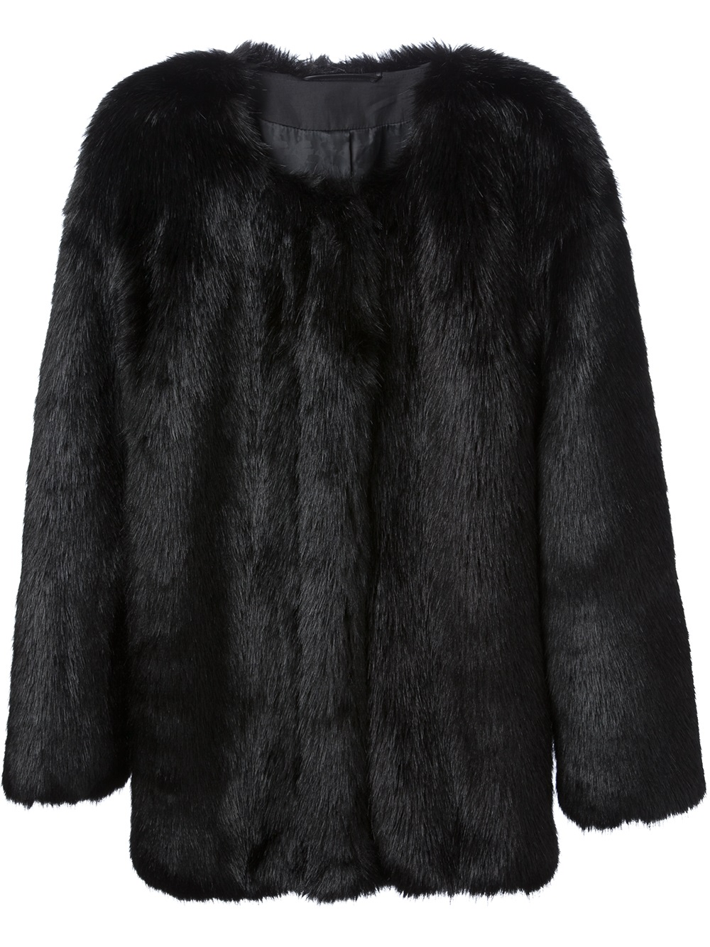 Karl lagerfeld Faux Fur Jacket in Black | Lyst