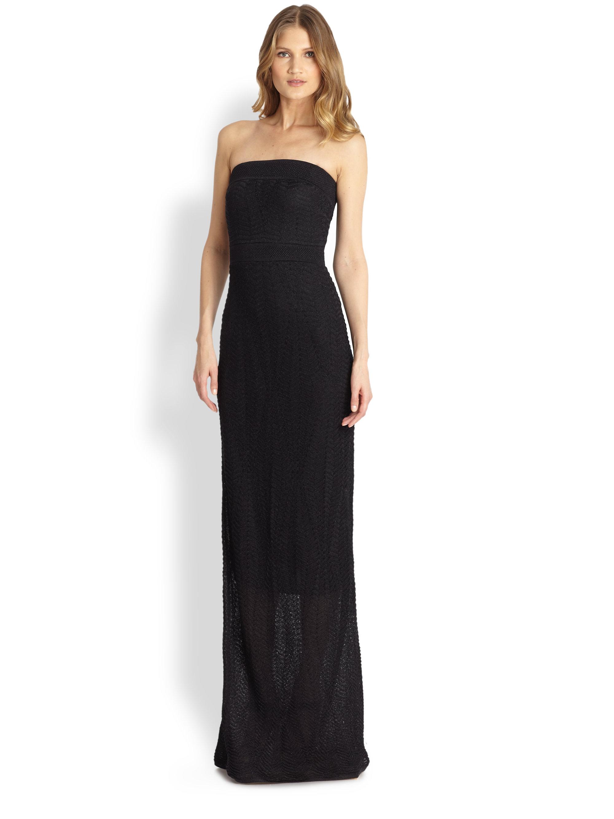 M Missoni Strapless Lurex Maxi Dress In Black Lyst
