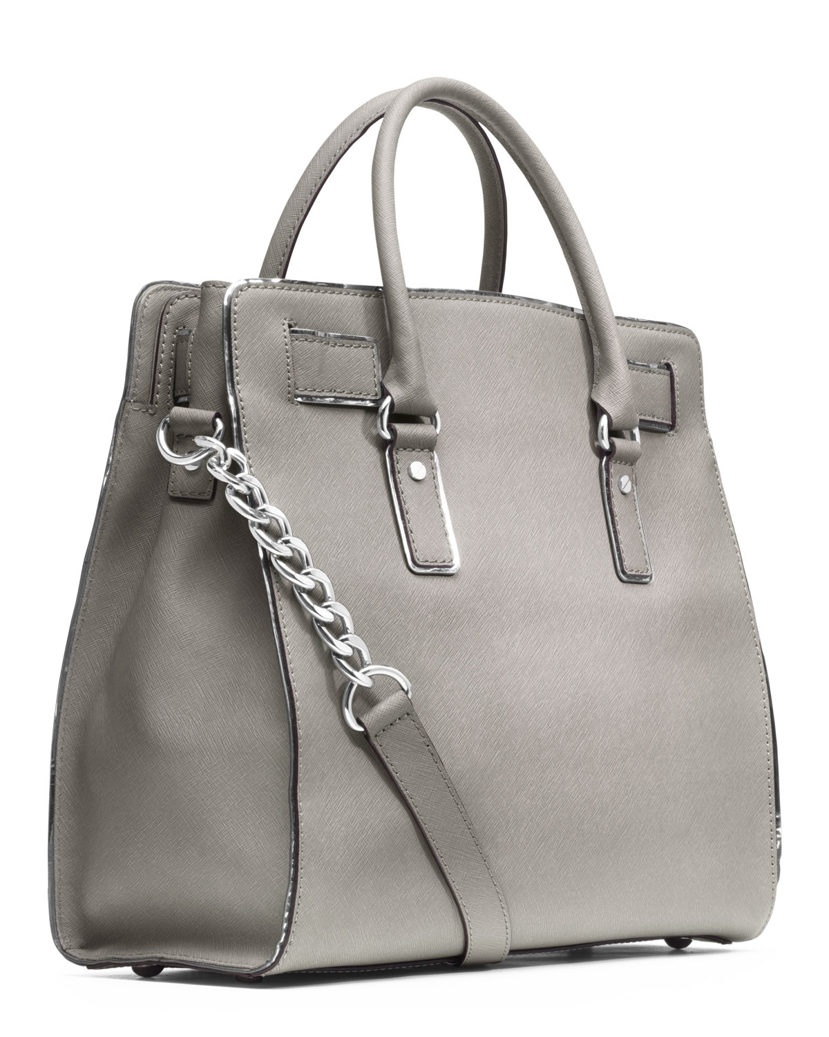1a2108a3909c Michael Kors Michael Large Hamilton Trimmed Tote in Gray - Lyst