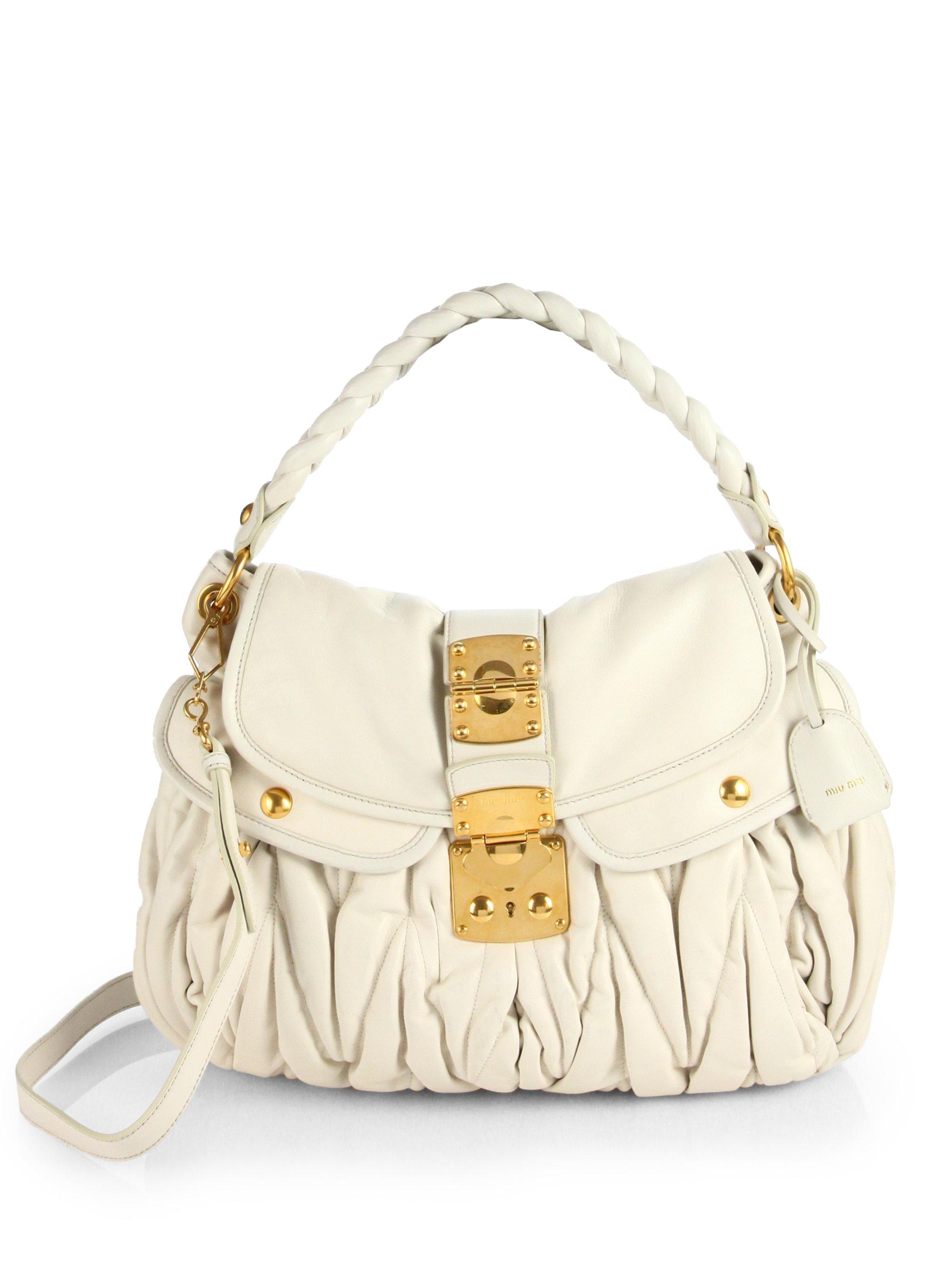 Lyst - Miu Miu Matelasse Leather Shoulder Bag in White 08804e051e