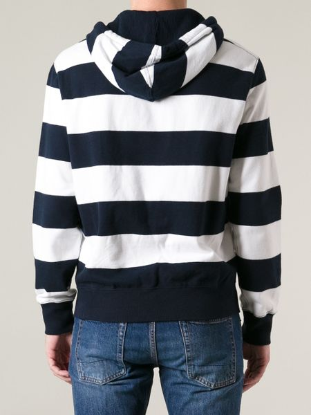 Polo Ralph Lauren Striped Hoodie in Blue for Men | Lyst