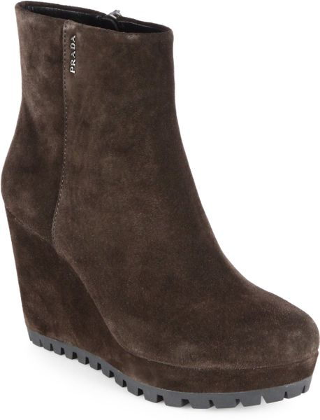prada suede wedge ankle boots in brown brown lyst