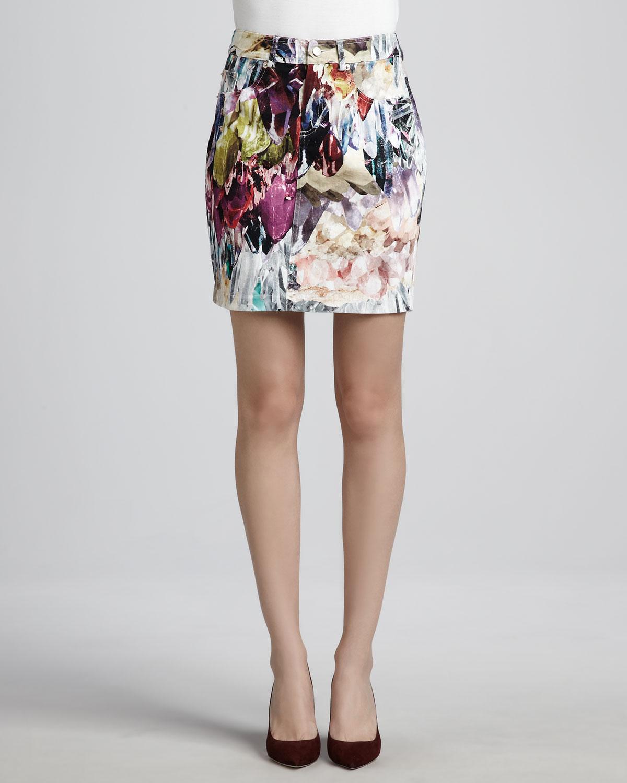 talulah met a boy printed denim skirt in floral