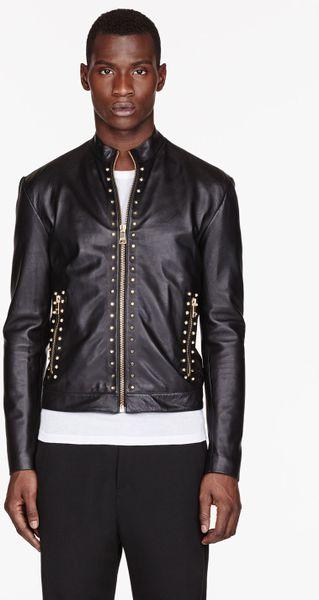 Versus Black and Gold Studded Leather Jacket in Black for Men | Lyst