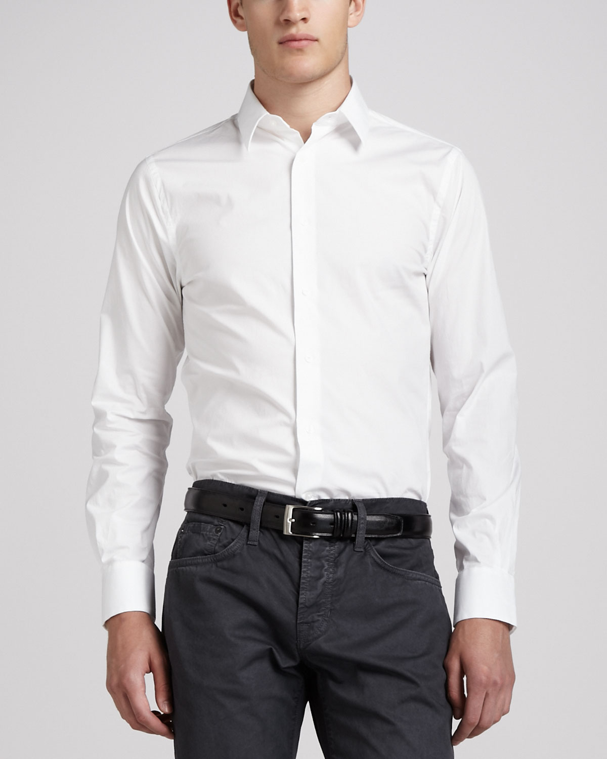 Lyst Vince Stretch Poplin Fly Front Shirt White In White