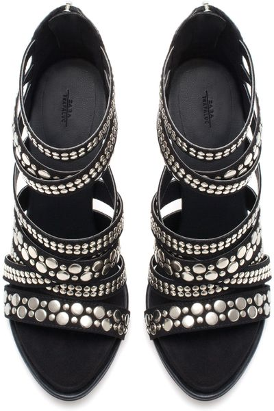 Zara Chain Sandals With Metallic Heel In Black Lyst