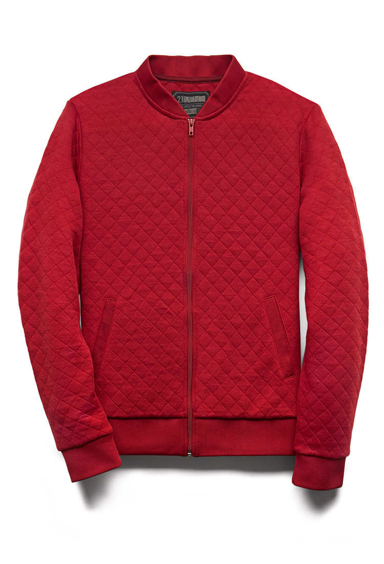 Forever 21 Quilted Bomber Jacket in Red for Men | Lyst : red quilted jacket mens - Adamdwight.com