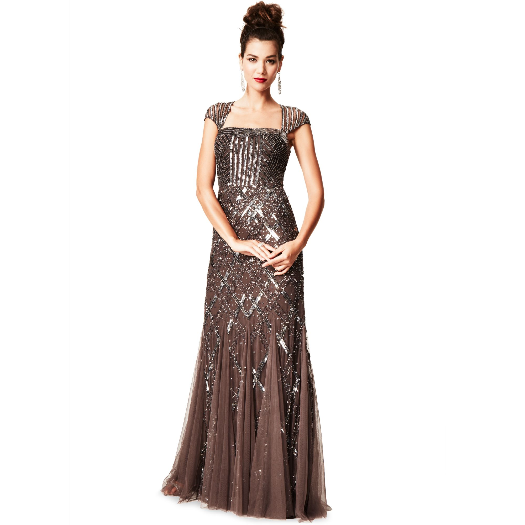 ad63e70689d2 Adrianna Papell Cap Sleeve Sequined Beaded Gown Dress in Purple - Lyst