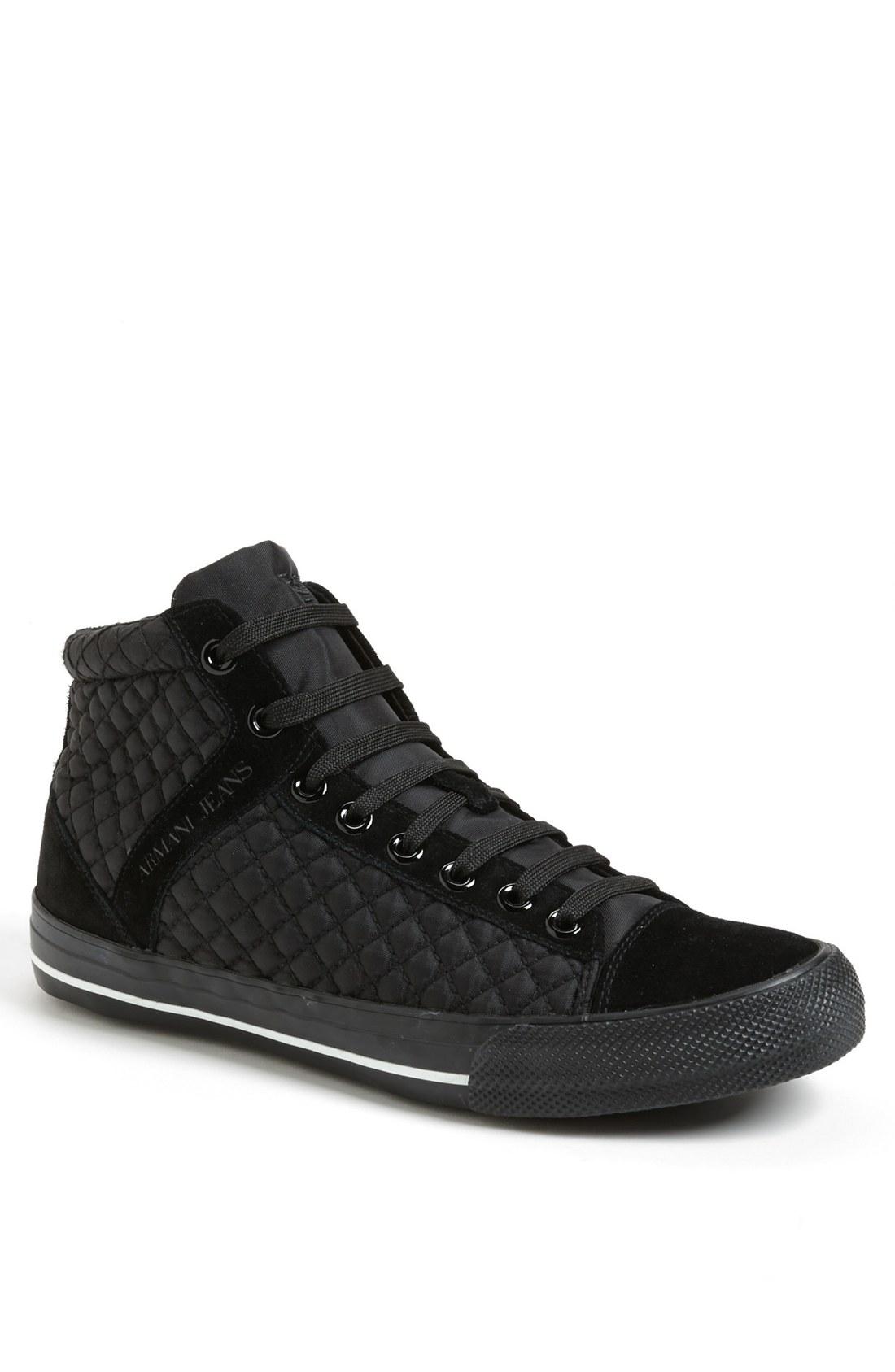 armani jeans quilted sneaker in black for men lyst. Black Bedroom Furniture Sets. Home Design Ideas