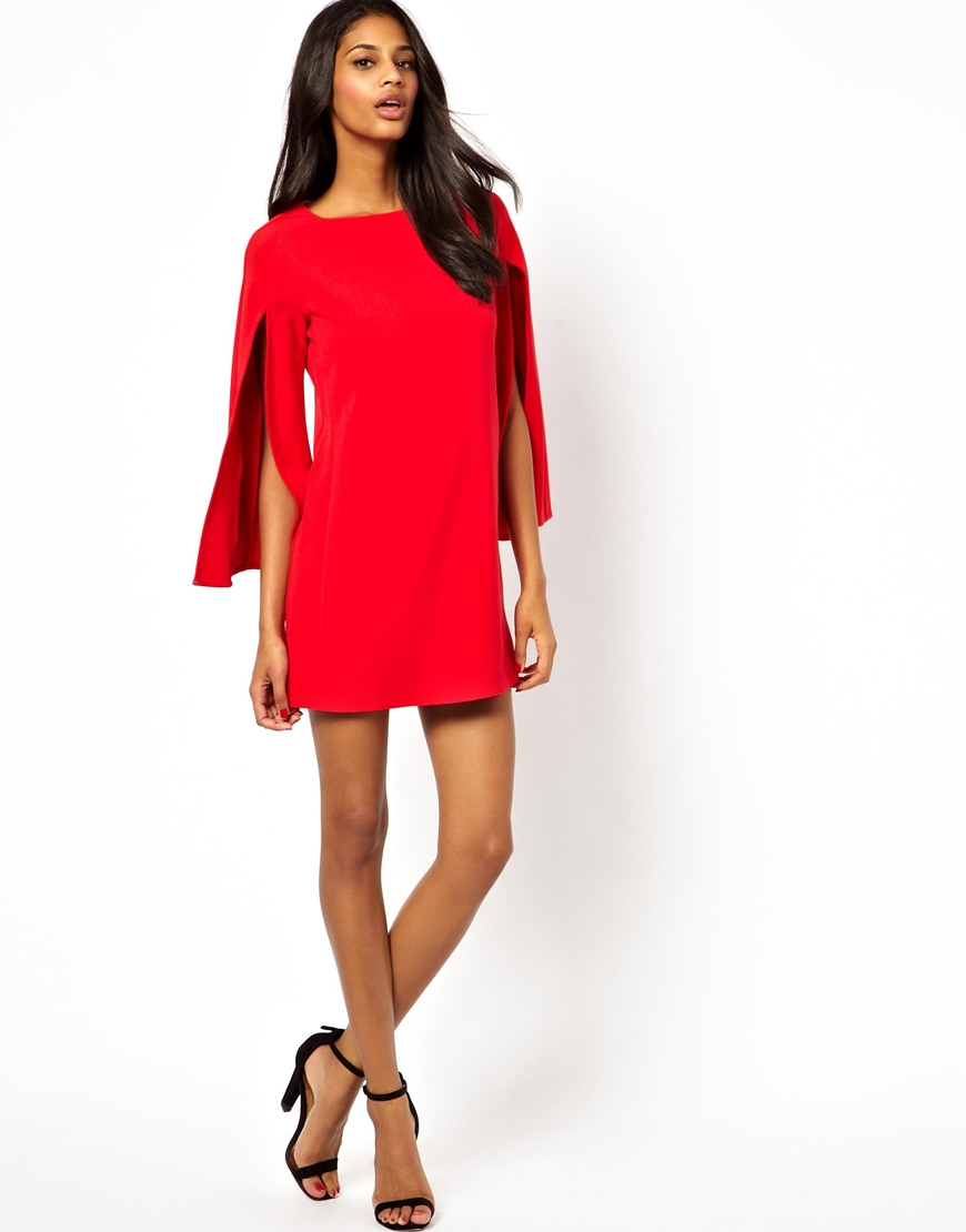 Asos Exclusive Wide Slash Sleeve Mini Tunic Dress in Red - Save 5 ...