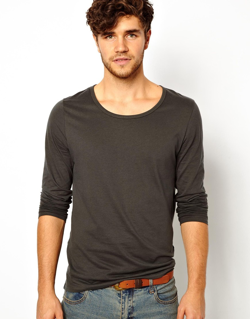 Asos long sleeve t shirt with bound scoop neck in black for Scoop neck long sleeve shirt