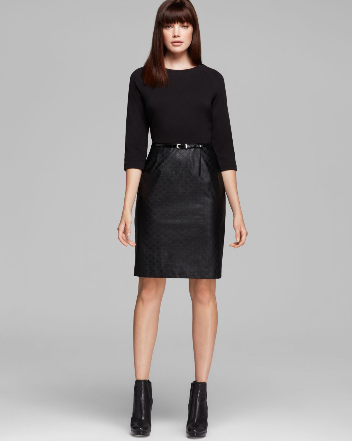 Calvin klein Three Quarter Sleeve Quilted Faux Leather Skirt Dress ...