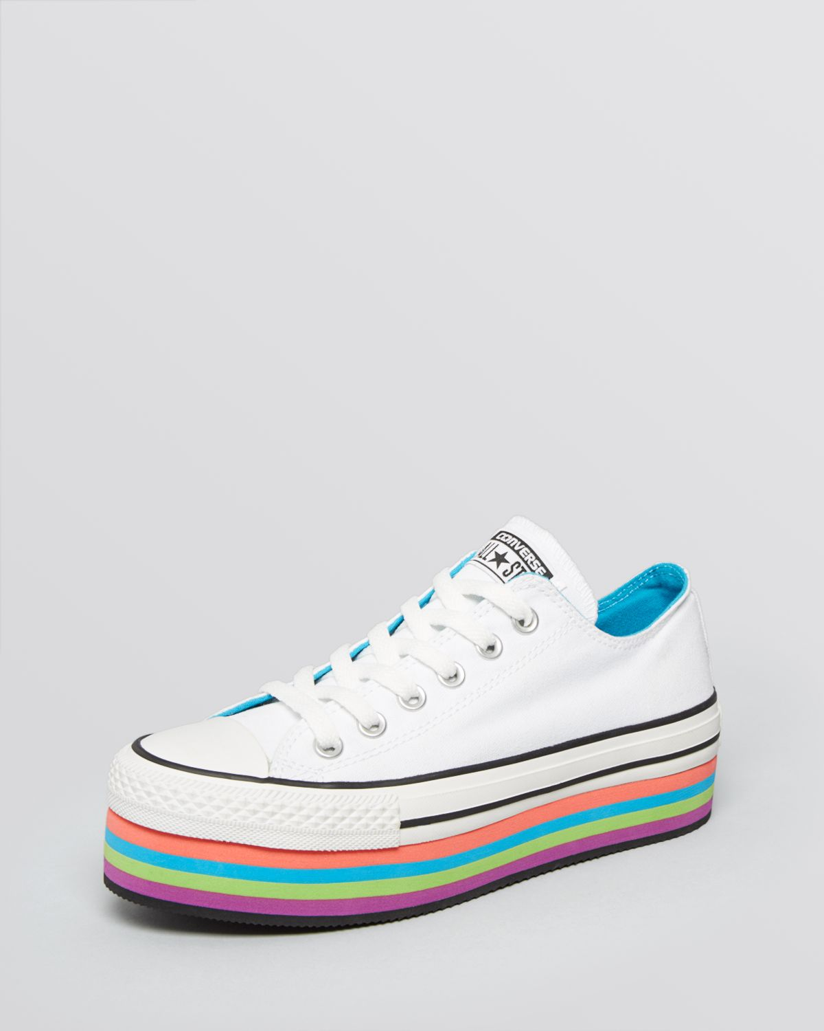 01ef46eef56f Converse Lace Up Platform Sneakers All Star Multicolor in White - Lyst
