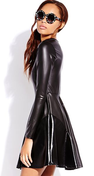 Forever 21 Street Chic Faux Leather Dress In Black Lyst