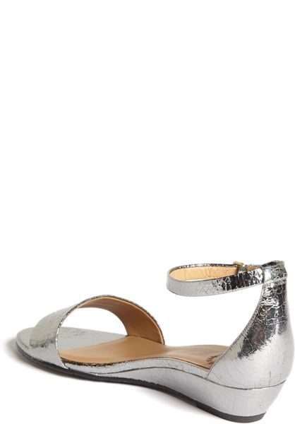 Silver Metallic Sandals Wedge Sandal in Silver