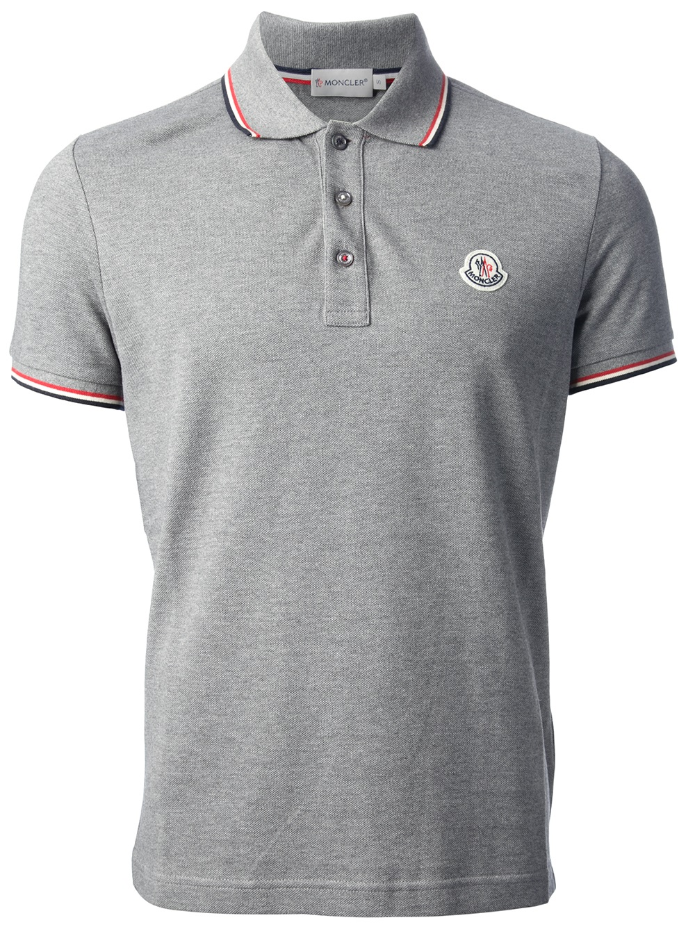 Lyst Moncler Short Sleeve Polo Shirt In Gray For Men