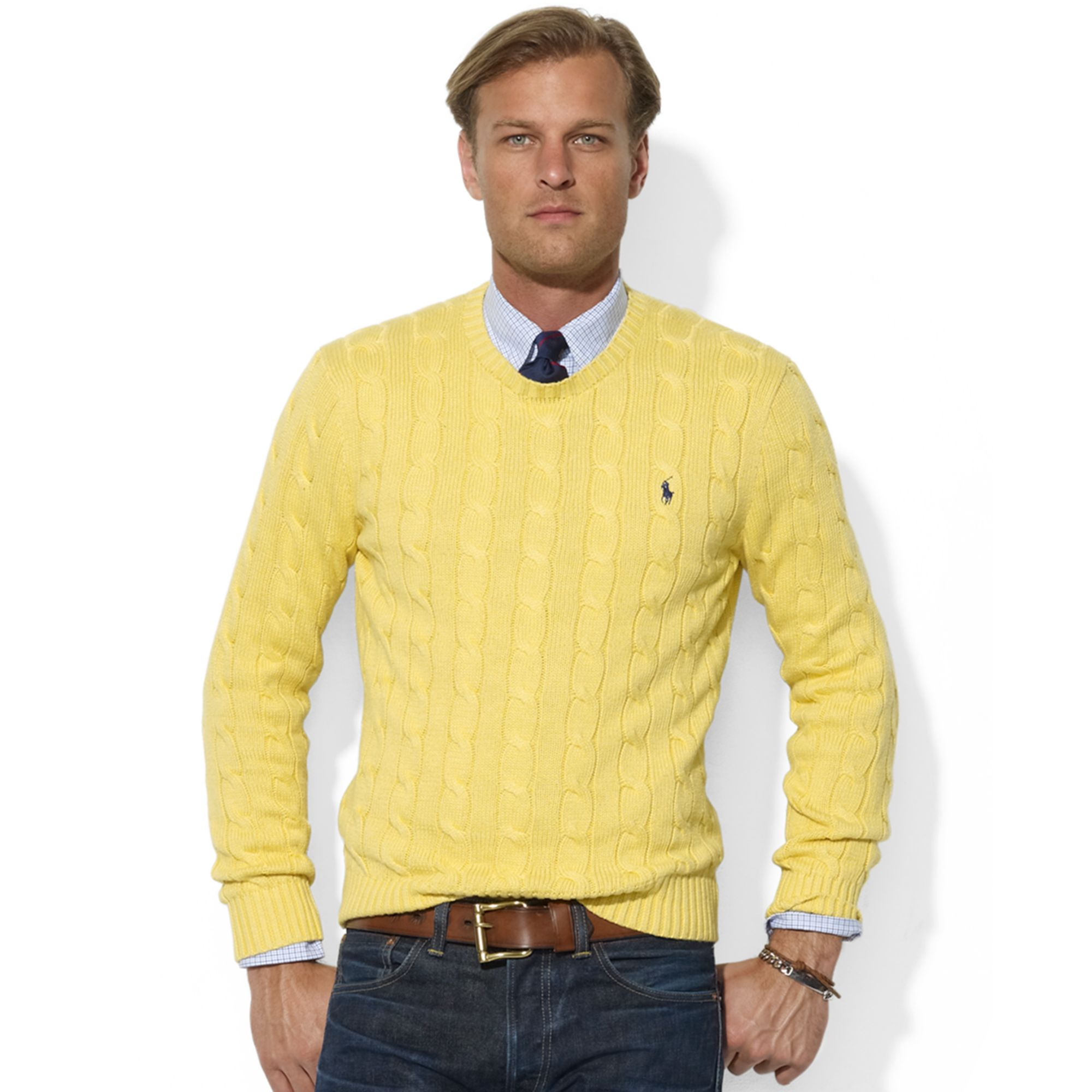 Yellow Crew Neck Jumper Mens - Cashmere Sweater England