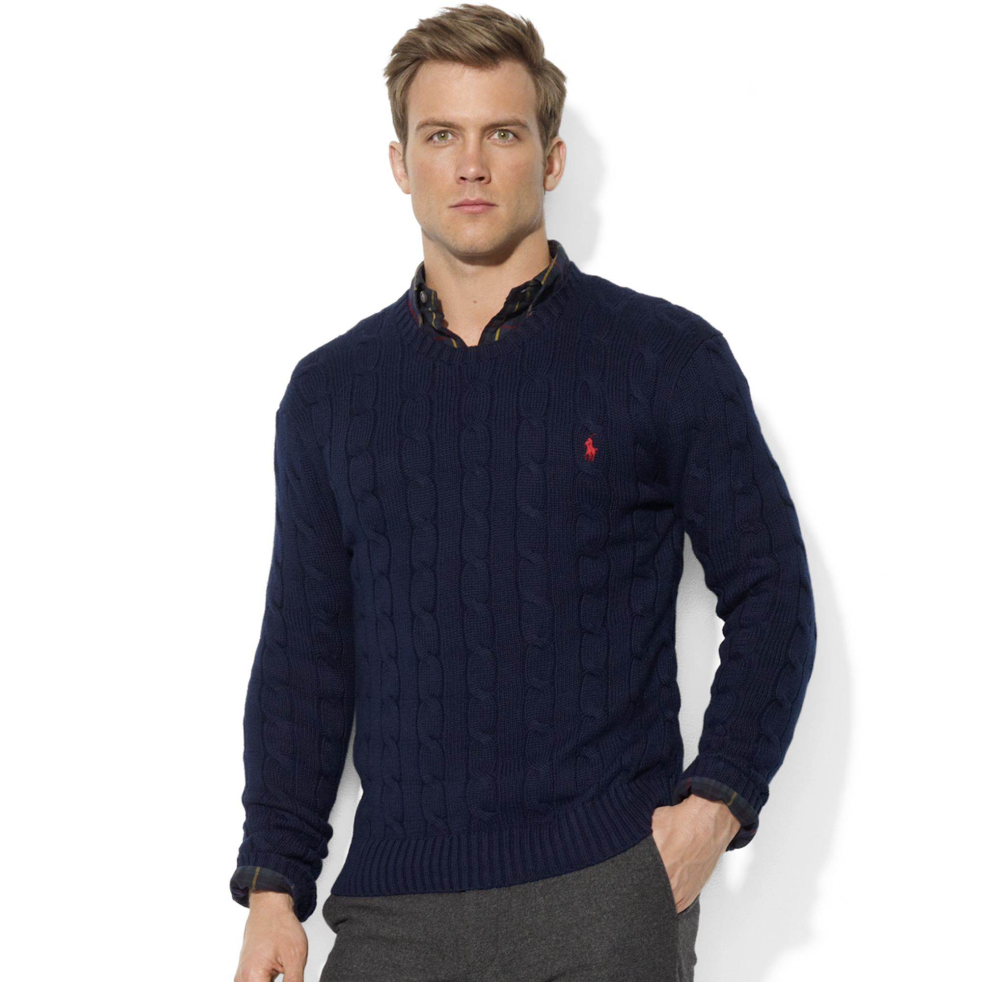 Ralph Lauren Roving Crew Neck Cable Cotton Sweater In Blue