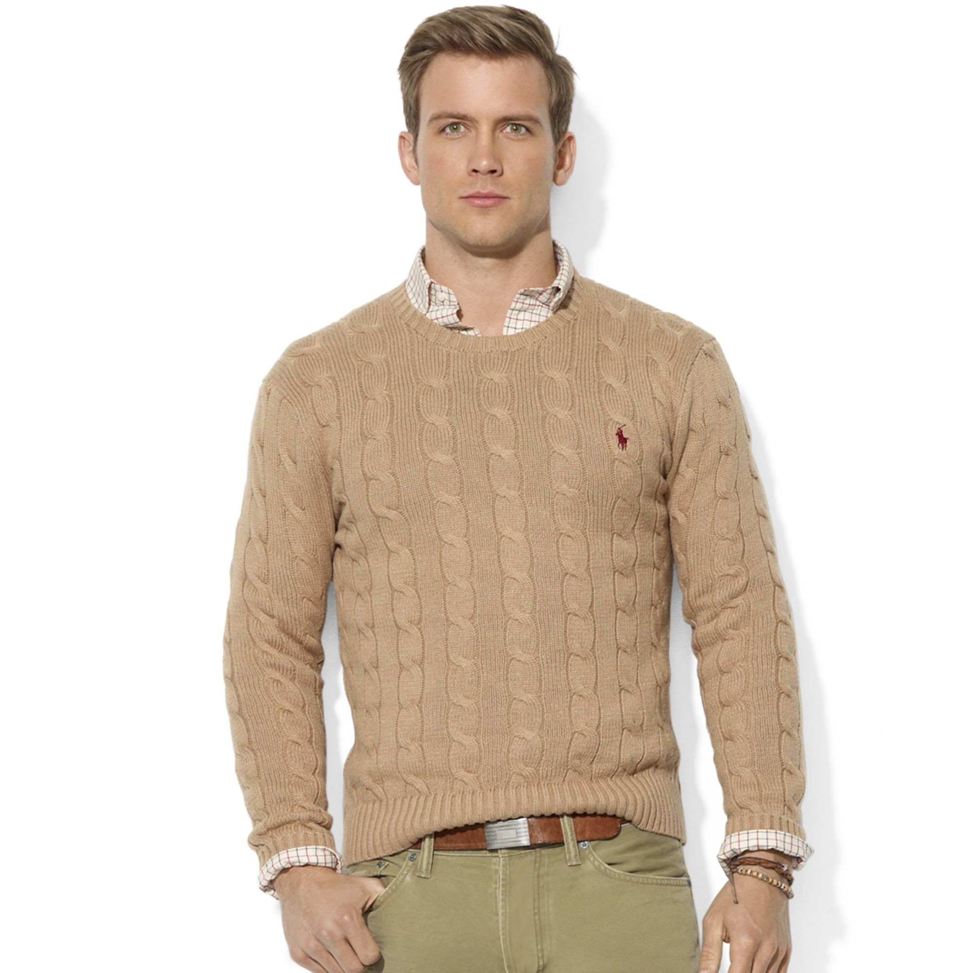 Ralph lauren Roving Crew Neck Cable Cotton Sweater in Natural for ...