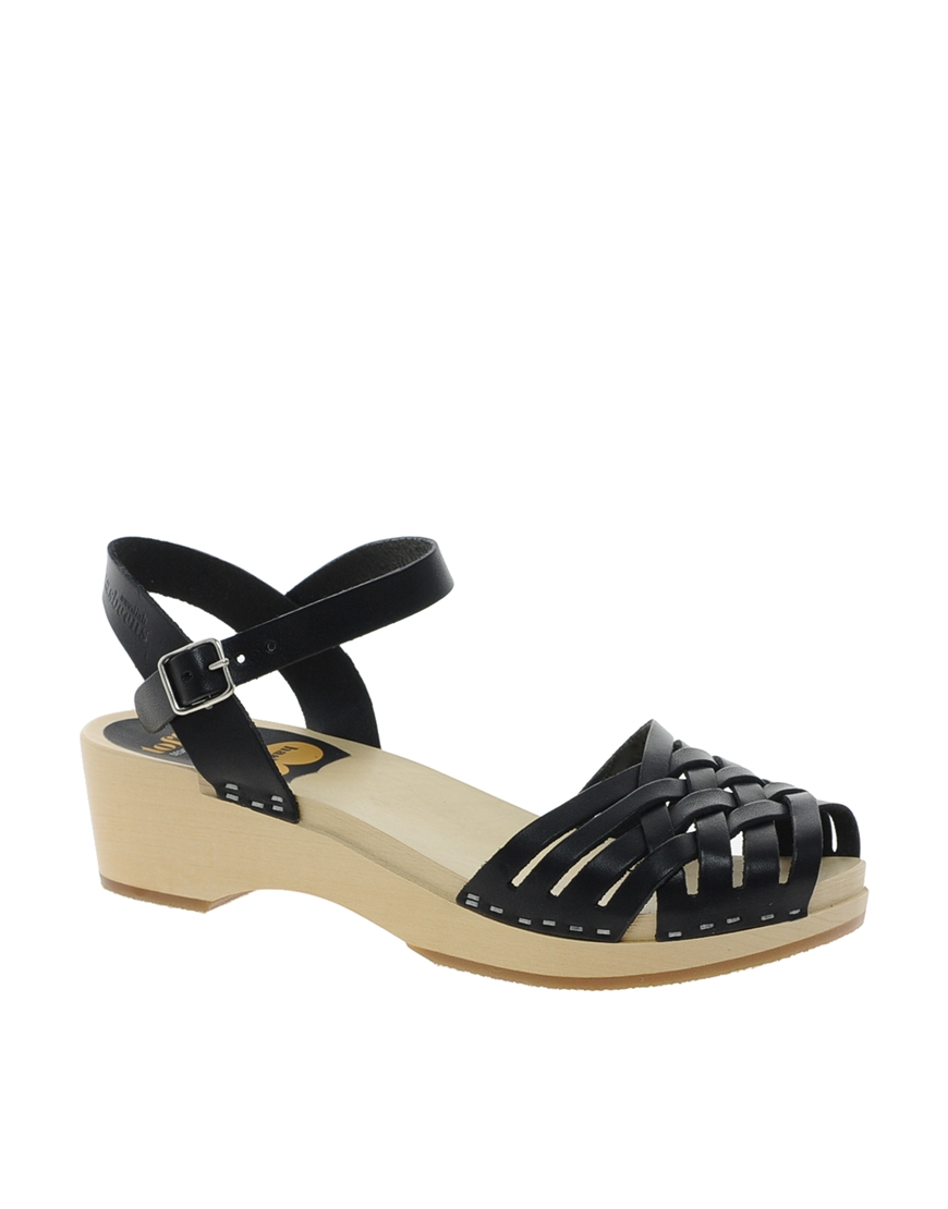 swedish hasbeens braided low wedge sandals in black lyst