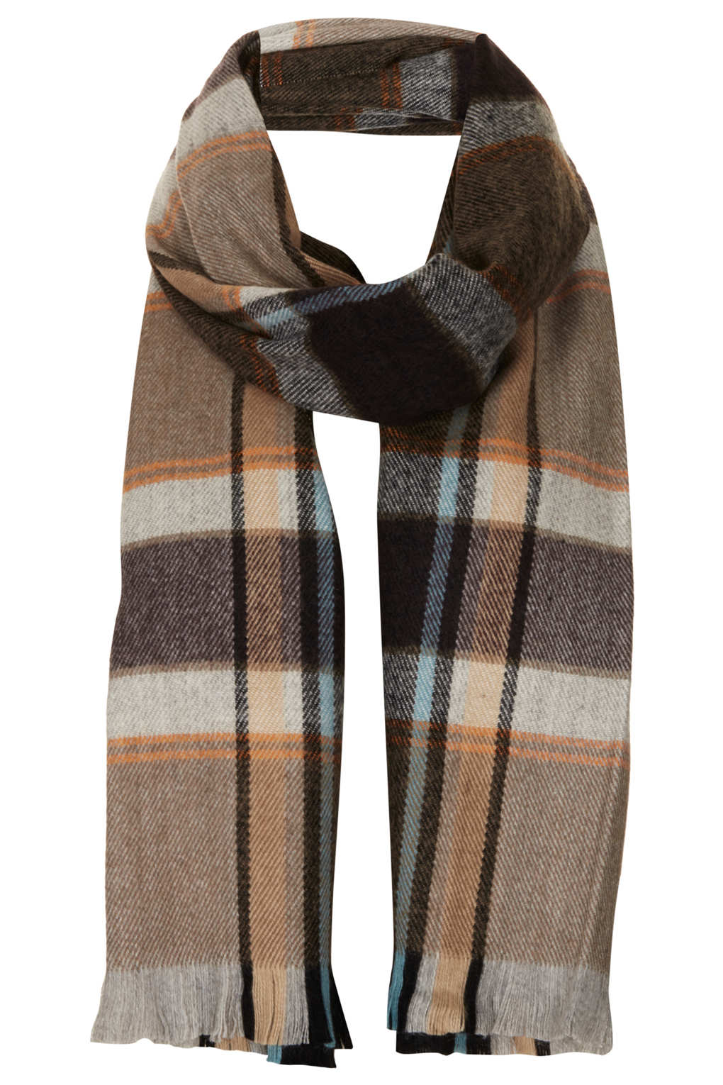 90a45c6b7 Lyst - TOPSHOP Traditional Check Scarf in Brown