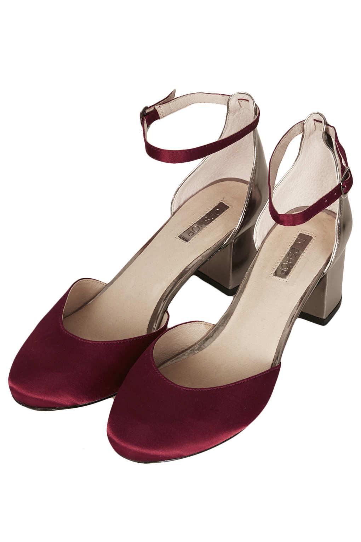 Topshop Juniper Metallic Mid Heels in Pink | Lyst