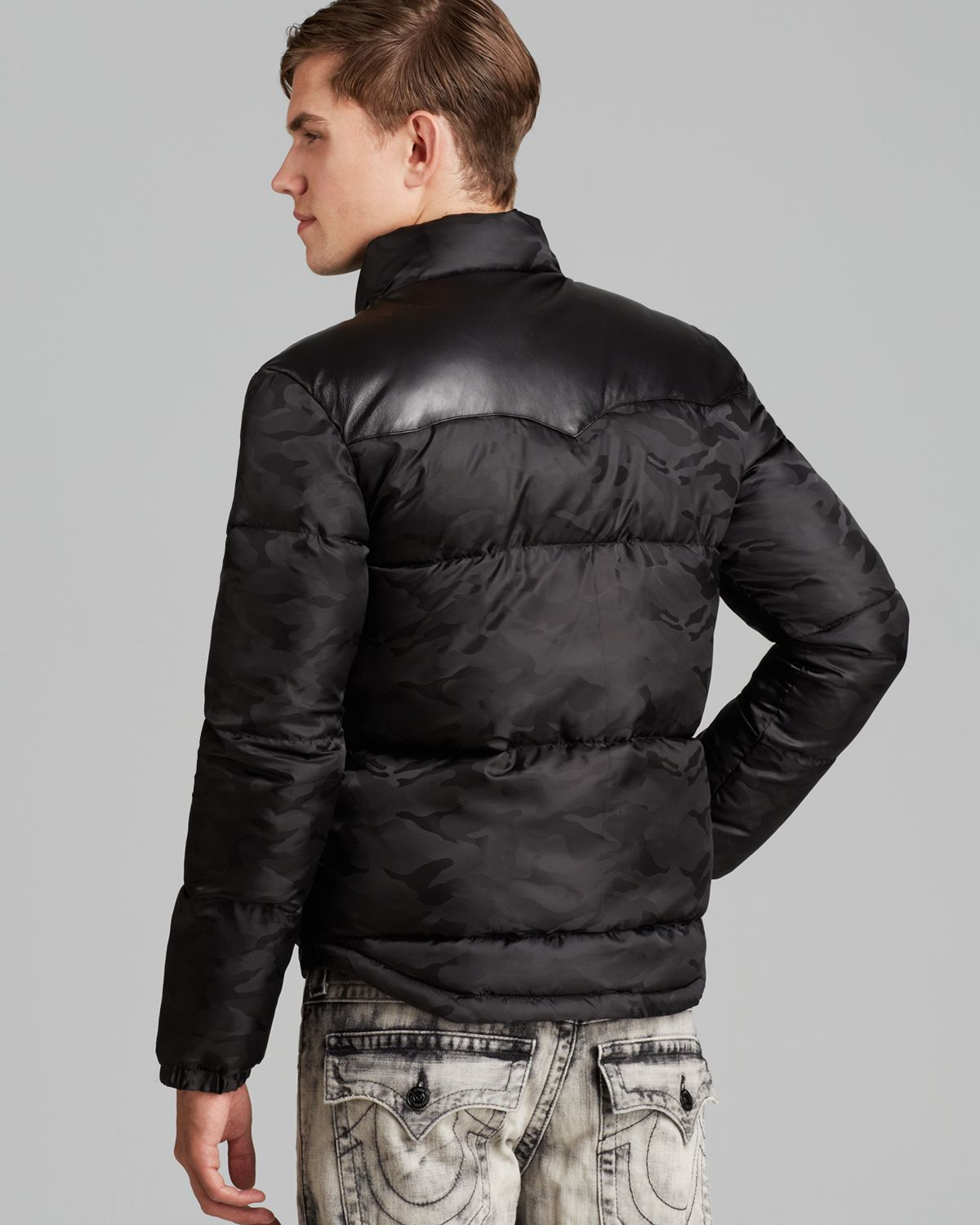 Lyst True Religion Leather Yoke Camo Down Puffer Jacket