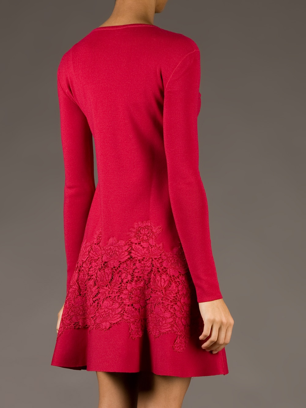 Valentino Lace Detail Sweater Dress in Red | Lyst