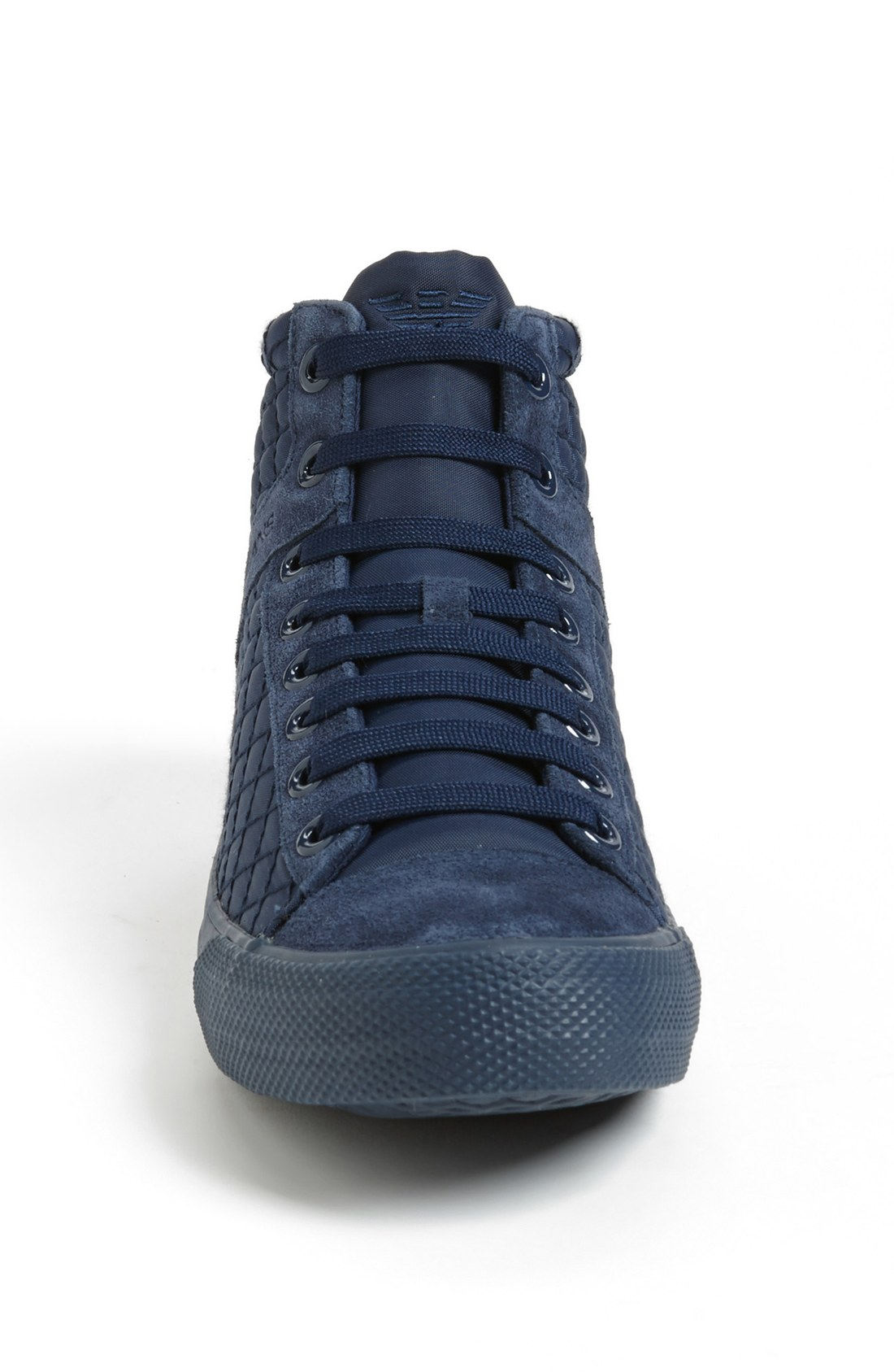 armani jeans quilted sneaker in black for men navy lyst. Black Bedroom Furniture Sets. Home Design Ideas