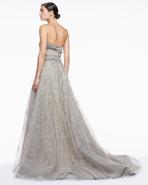 Strapless Embroidered Trumpet Gown Carolina Herrera Auf8aQZ